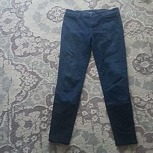 J Brand skinny jeans with black color block detail